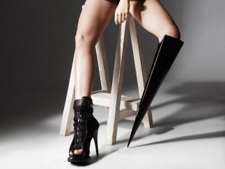 "Bionic pop star Viktoria Modesta wearing ""The Spike"" Artificial leg, created by Sophie de Oliviera de Barata, Alternative Limb Project"