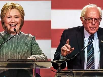 Los candidatos demócratas Hillary Clinton y Bernie Sanders en Michigan