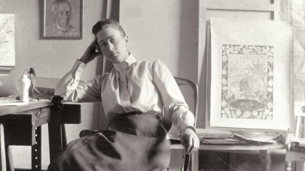 Hilma af Klint at her studio at Hamngatan 5, Stockholm, c.1895