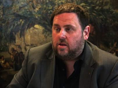 El vicepresidente del Govern, Oriol Junqueras, en la sede del departamento de Economia.