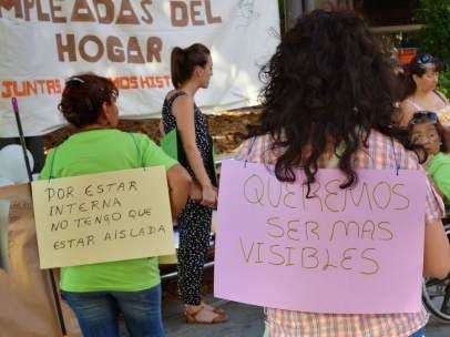 Protesta por los derechos laborales de las trabajadoras domésticas