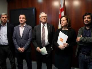 Responsables municipales del Ajuntament de Barcelona de los grupos de CiU, C's, PP, PSC y ERC.