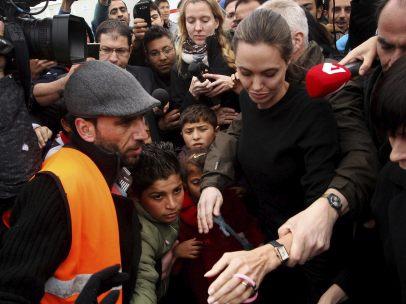 Angelina Jolie, con los refugiados