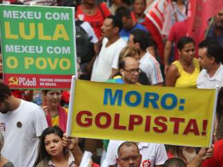 Pancartas a favor de Lula