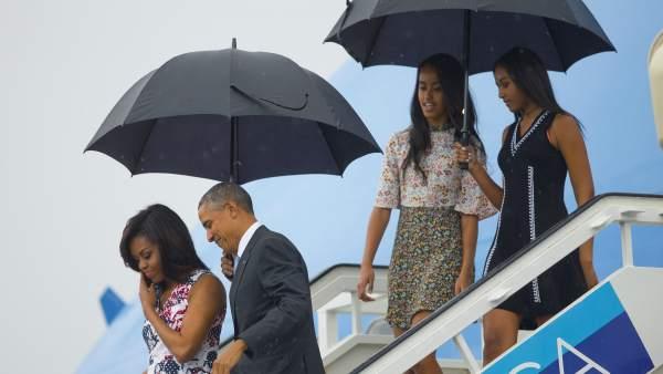 La lluvia recibe a Obama en Cuba