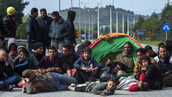 Refugiados en la frontera con Macedonia
