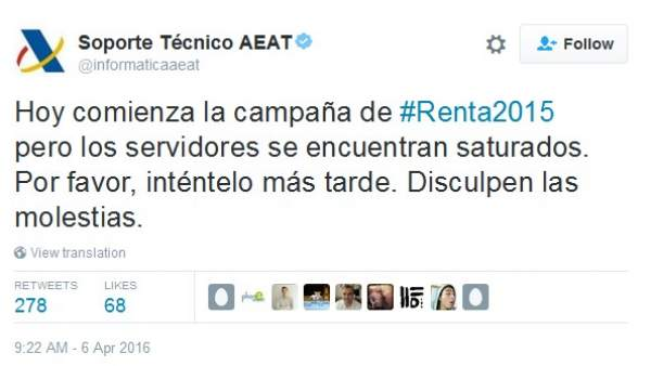 Tuit del soporte técnico de la AEAT
