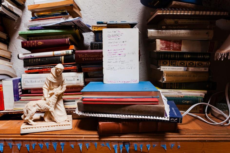 Saint Francis and the Wolf, 2011. Una figura de San Francisco de Asís y un lobo entre los libros de True