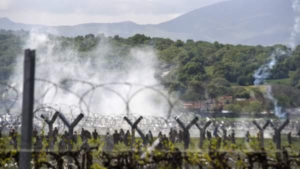 Enfrentamientos en la frontera entre Grecia y Macedonia