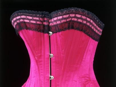 Silk satin, lace and whalebone corset, 1890-5