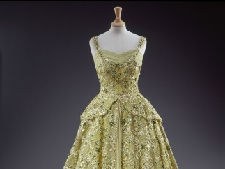 Sir Norman Hartnell, pale green crinoline evening gown
