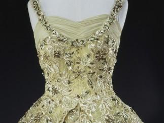 Sir Norman Hartnell, pale green crinoline evening gown, detalle