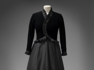 Ian Thomas, black silk velvet and taffeta dress