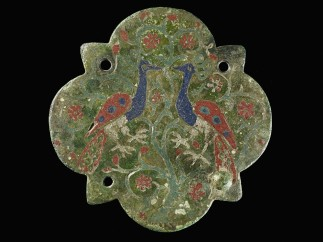 Lid of a casket with peacock decoration, Enamel, gold, copper, Probably Sicily, c.1250–1300