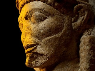 Limestone head from a temple. Selinous, Sicily, c. 540–510 BC