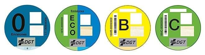 Etiquetas con las que la DGT clasifica a los vehículos españoles según su contaminación