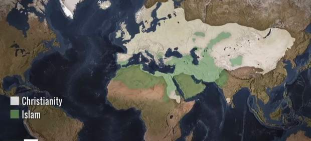 Un vídeo muestra en 90 segundos la expansión del Cristianismo y el Islam en el mundo