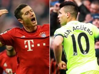 Lewandowski y Agüero