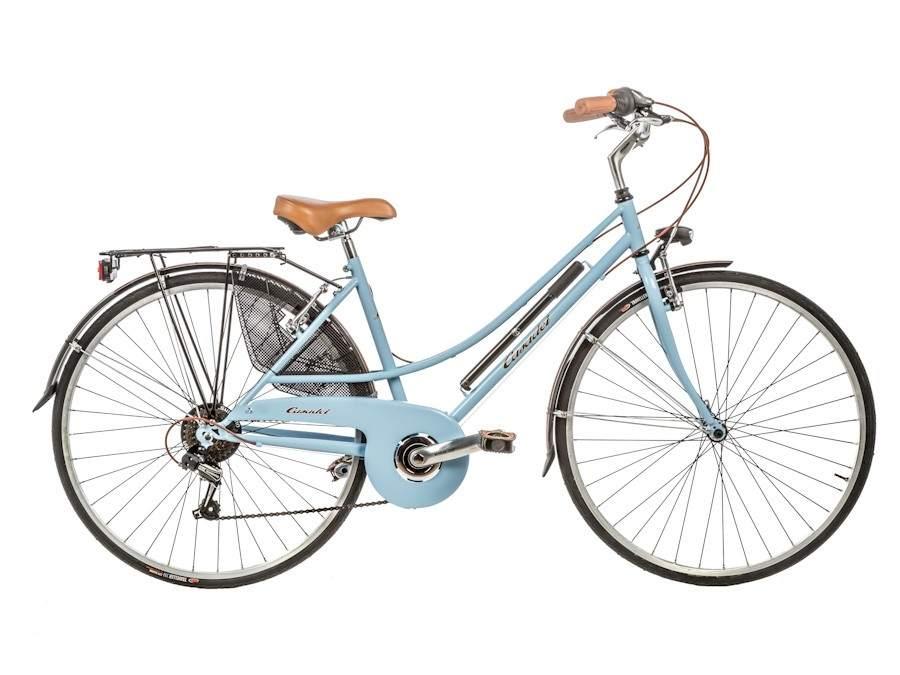 Bicicleta clásica 'Unisex Donna 28 6v 27D'. Con un diseño clásico y disponible en blanco, negro mate, crema, verde gris y azul. Precio: 299 euros.