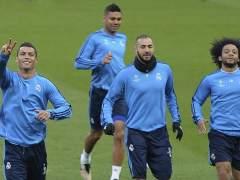 Cristiano, Benzema, Marcelo y Casemiro entrenando