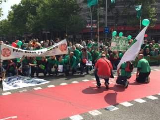 La Plataforma de Afectados por la Hipoteca (PAH) se manifiesta por el centro de Barcelona.
