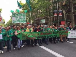 Manifestació de la Plataforma d'Afectats per la Hipoteca (PAH) en el centre de Barcelona.