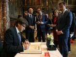El presidente Carles Puigdemont, en Amberes