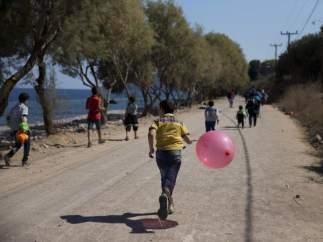 Niños jugando en Lesbos