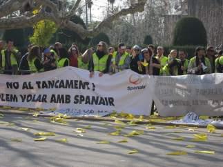 Trabajadores De Spanair Se Manifiestan Ante El Parlament en 2012