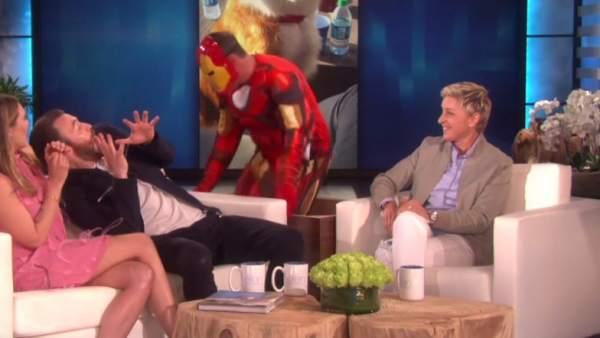 Chris Evans recibe un susto de Iron Man
