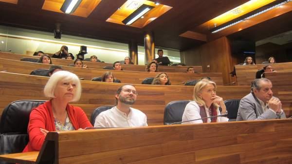 Diputados de IU, Podemos, Foro y C's, junto con alumnos de primaria, en el pleno