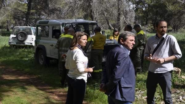 Cobo, Ortega y Bueno, en el simulacro de incencio en la Cruz de la Chimba.