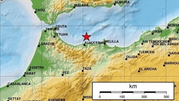 Epicentro del seísmo de magnitud 4,9 en el Mar de Alborán, cerca de Melilla