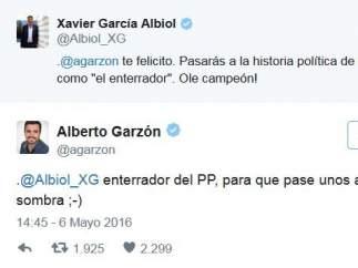 Mensajes de García Albiol y Garzón en Twitter