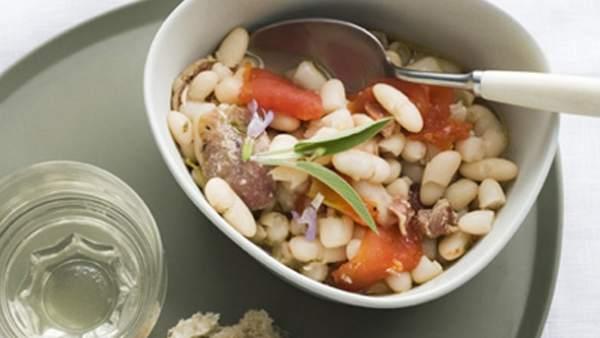 Judías blancas con verduras y vinagreta
