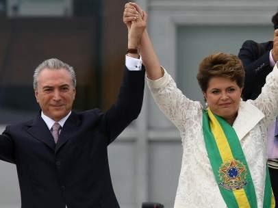 Temer, Rousseff y Da Silva.