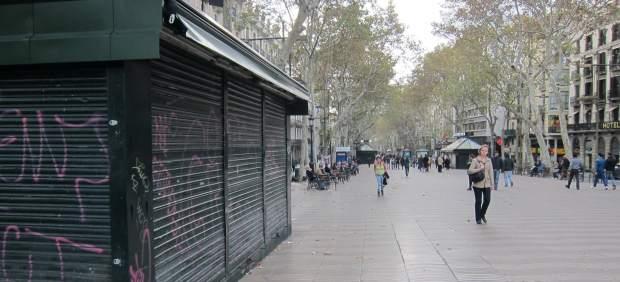 Ramblas Barcelona huelga general 14-N del 2012.
