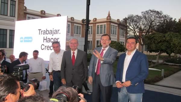 Bendodo, Francisco de la Torre, Rajoy y Moreno en Málaga