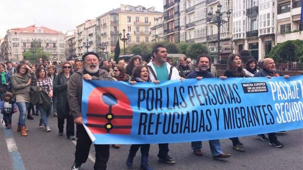 Manifestación en Santander a favor de los refugiados