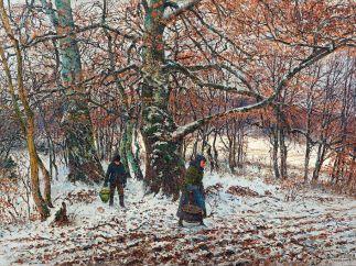 'Bauernkinder im winterlichen Buchenwald, Weßling', 1892