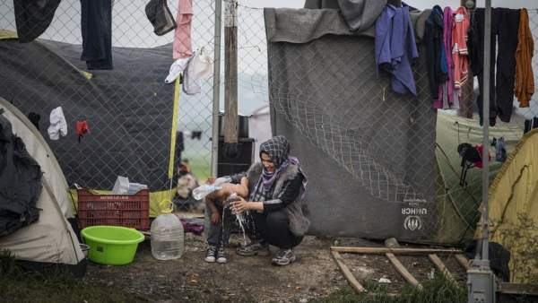 Refugiados en Idomeni