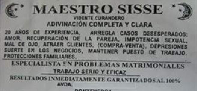 Anuncio de vidente senegalés en Pontevedra