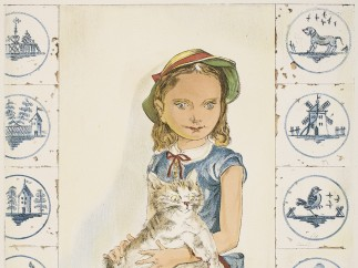 Léonard Tsuguharu Foujita - Untitled (Girl with Cat and Tiles), 20th century