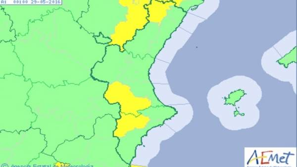 Alerta amarilla en el interior de la Comunitat por viento