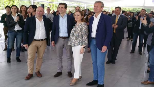 Miguel Tellado, Pablo Casado, Ana Pastor y Alfonso Rueda en un acto del PP