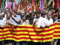 Iceta, Junqueras,Domènech y Forcadell, juntos en la marcha contra el Constitucional