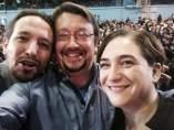 Pablo Iglesias, Xavier Domènech y Ada Colau (Archivo)