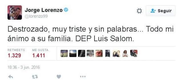 """Jorge Lorenzo, """"destrozado"""": conmoción entre los pilotos de motos por la muerte de Salom"""