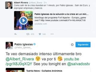 Conversación entre Rivera e Iglesias en Twitter