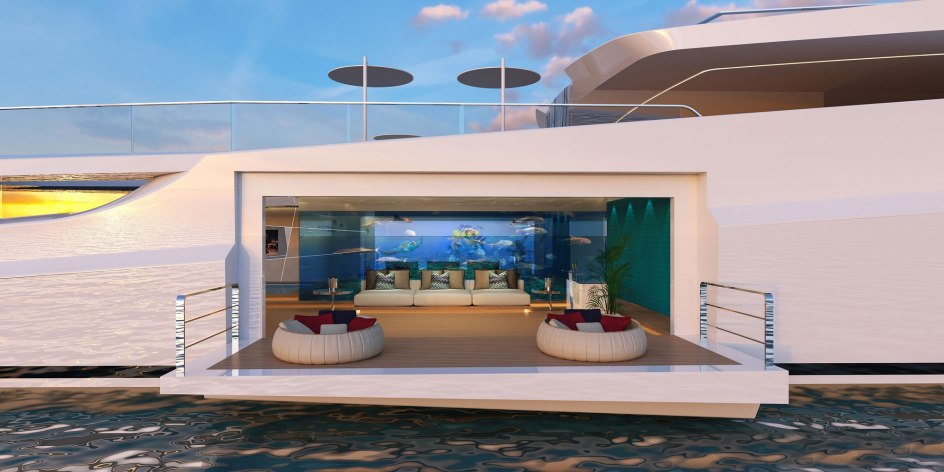 Habitación con una terraza suspendida sobre el mar